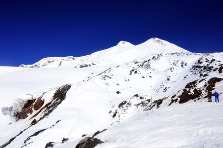 Beautiful view of mountaint Elbrus, - highest peak of Europe photo