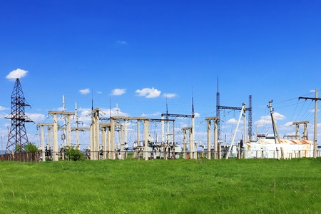 The Substation and Power Transmission Lines. Panorama photo