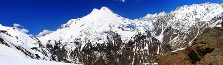 elbrus: Beautiful view of mountaint Elbrus - highest peak of Europe  Stock Photo