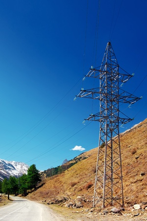 dielectric: Power line high in the mountains  Elbrus  Stock Photo
