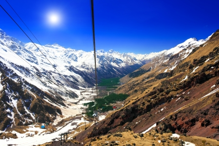 elbrus: Wonderful view of the cableway in the mountains. Elbrus