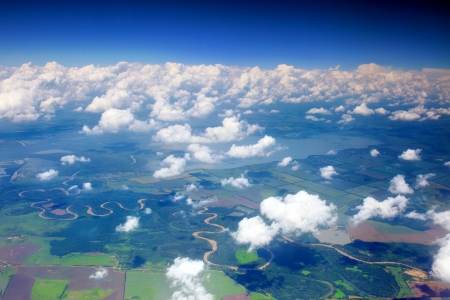 Beautiful view above the earth on landmark down. photo