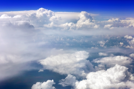 Beautiful view above the earth at the clouds below. photo