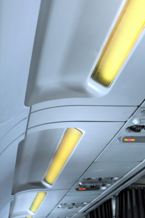 Fragment of   interior view of modern Airplane. International line. photo