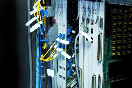 Telecommunication equipment  in a big datacenter. photo