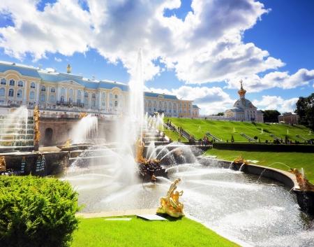 Grand cascade in Pertergof, Saint-Petersburg, Russia Stock Photo