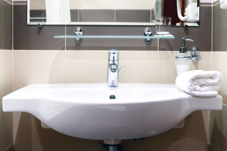 White  sink and towell in SPA salon