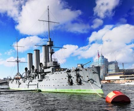 piter: Cruiser Avrora in the  Saint-Petersburg. Russia Stock Photo