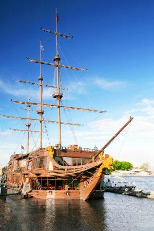 brigantine: Old frigate in moorage St.Petersburg, Russia Stock Photo