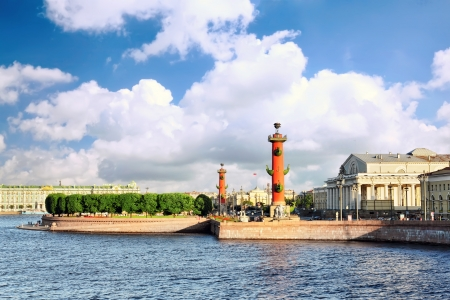 St. Petersburg.View on the Winter Palacel, the Admiralty and Rostral columns Stock Photo