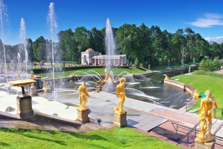 Grand cascade in Pertergof, Saint-Petersburg, Russia photo