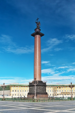 Alexander Column on Palace Square in St. Petersburg. Russia photo