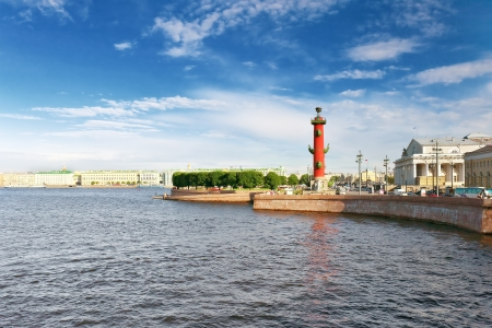 Rostral Column  in Saint Petersburg in Russia. Evening. photo
