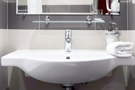 White  sink and towell in SPA salon. photo