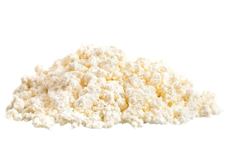 Fresh cottage cheese (curd) heap, isolated on white background. Stock Photo - 18061838