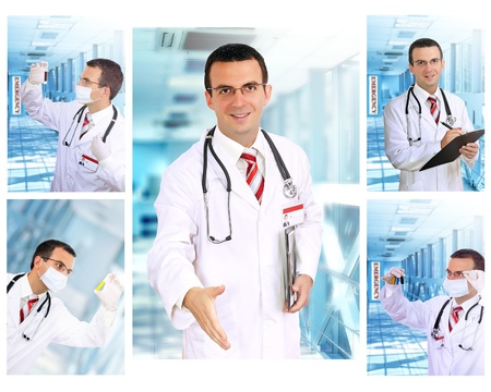 Set  collage  of young  doctor   in Hospital   photo