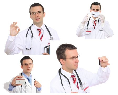 houseman: Set (collage) of young doctor in Hospital.Isolated over white