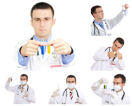 houseman: Set  collage  of young doctor in Hospital Isolated over white