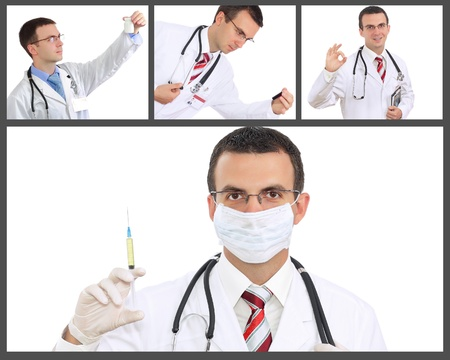 houseman: Set  collage  of doctor  Isolated over white background