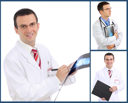 Set  collage  of doctor  Isolated over white background