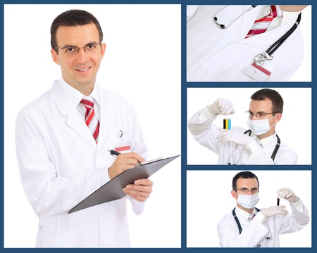 Set  collage  of doctor  Isolated over white background  photo