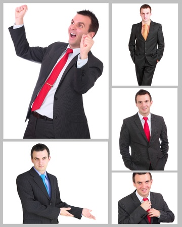 Set (collection) of european businessman.  Isolated over white background.  photo