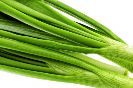 bine: Young onion on white background  Close-Up  Isolated
