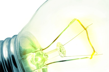 switched: Turn on tungsten light bulb.Isolated Stock Photo