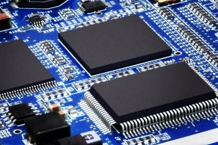 Close-up van de elektronische printplaat. Macro.
