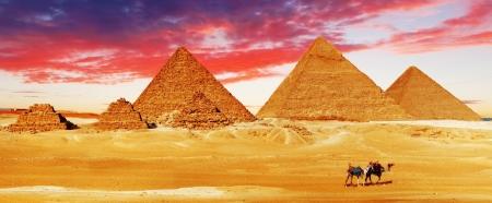 Grote Piramide, gelegen in Giza, Egypte. Stockfoto