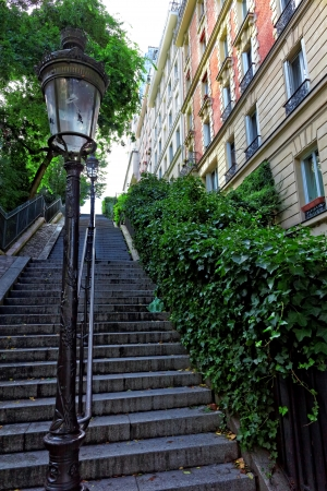 Stairs on the way to the basilica Sacre-Coeur. Paris. France photo