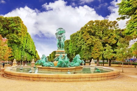 jardin de luxembourg: Luxembourg Garden in Paris,Fontaine de l'Observatoir.Paris. Stock Photo