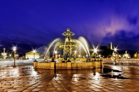 fontaine: Fountain at Place de la Concord in Paris  by dusk. France. Stock Photo