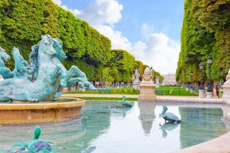 statuary garden: Luxembourg Garden in Paris,Fontaine de Observatoir.Paris.