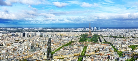 birds eye view: Panorama of Paris from the Montparnasse Tower. France. Stock Photo