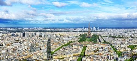 Panorama van Parijs van de Tour Montparnasse. Frankrijk. Stockfoto