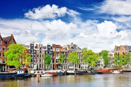 Amsterdam with canal in the downtown, Holland. photo