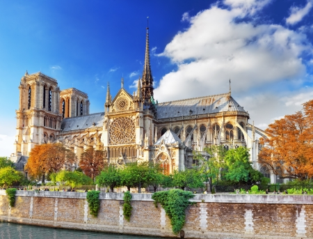 seine: Notre Dame de Paris Cathedral.Paris. France