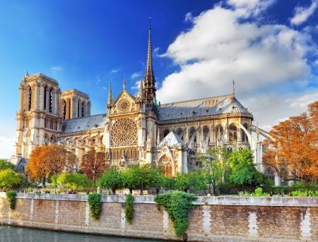 seine: Notre Dame de Paris Cathedral.Paris. Frankrijk