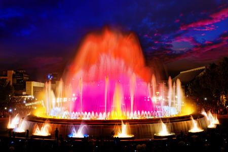 espanya: The famous Montjuic Fountain in Barcelona, Spain.