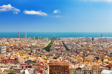 barcelona cathedral: Panorama on Barcelona city from Montjuic castle. Stock Photo