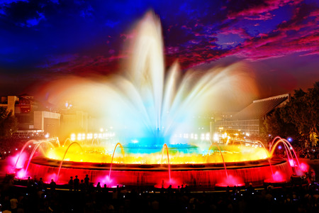 spain: The famous Montjuic Fountain in Barcelona.Spain.