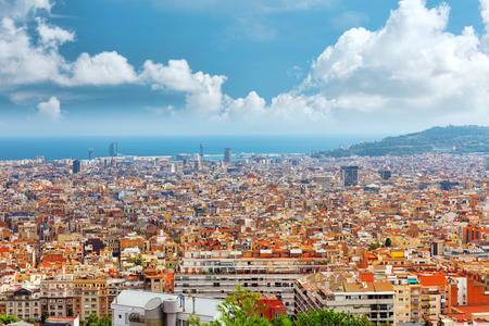 montjuic: Panorama on Barcelona city from Montjuic castle.Catalonia. Spain.