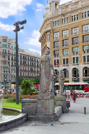 catalunia: BARCELONA, SPAIN - SEPT 01: Famous   Placa De Catalunia in Barcelona. September 01, 2014 in Barcelona Spain. The most beautiful square  in the Catalan capital