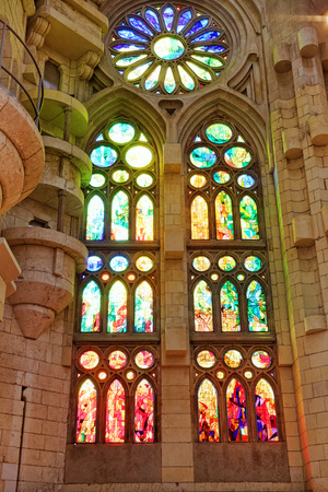 glasswork: Stained-glass window in old  Catholic temple. Spain. Editorial