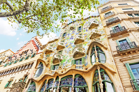 turret: BARCELONA, SPAIN - SEPT  04, 2014: Outdoor view  Gaudis  creation-house Casa Batlo. The building that is now Casa Batllo was built in 1877 by Antoni Gaudi, and now commissioned by Lluis Sala Sanchez.   September 04, 2014 in Barcelona, Spain.