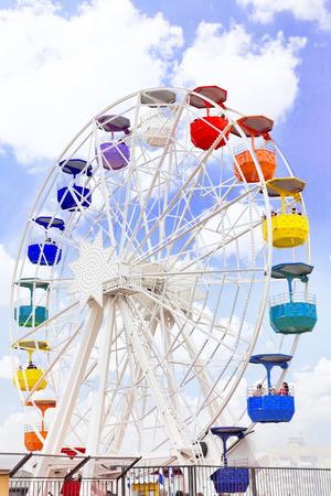 carrousel: Barcelona city from mountain top Tibidabo. Catalonia, Spain.
