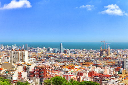 barcelona cathedral: Panorama on Barcelona city from Montjuic castle.Catalonia. Spain.