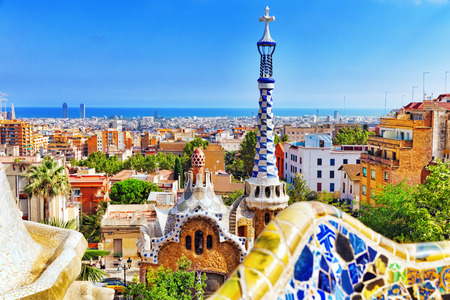 architectural heritage of the world: BARCELONA, SPAIN - SEPT 02,2014 :Gorgeous and amazing Park Guel in Barcelona. In 1984 park has been declared UNESCO by the World heritage of mankind. Park Guell (1914) is the famous architectural town art designed by Antoni Gaudi. Event September 02, 2014