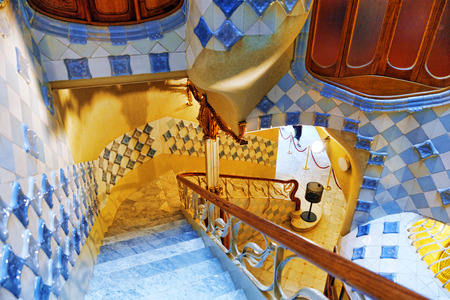 commissioned: BARCELONA, SPAIN - SEPT  04, 2014: Interior and inner chambers Gaudis  creation house Casa Batlo. The building that is now Casa Batllo was built in 1877 by Antoni Gaudi, and now commissioned by Lluis Sala Sanchez. September 04, 2014 in Barcelona, Spain.